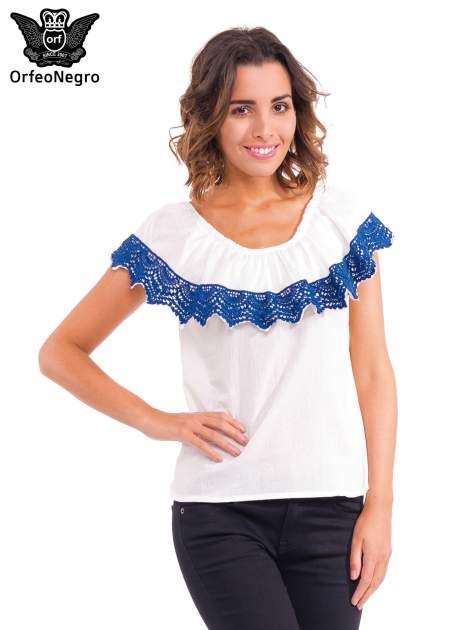 Ecru koszula z dekoltem hiszpańskim                                  zdj.                                  1