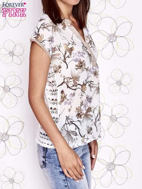 Ecru koszula z kwiatowym motywem i ażurowym tyłem                                  zdj.                                  3