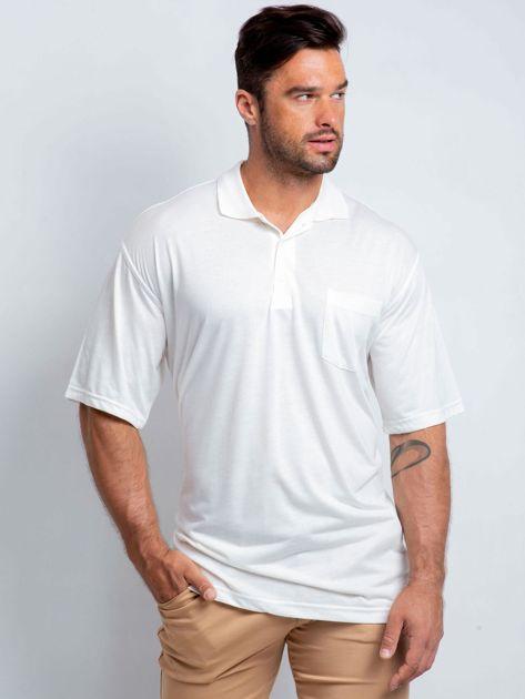 Ecru koszulka polo męska plus size Ferony