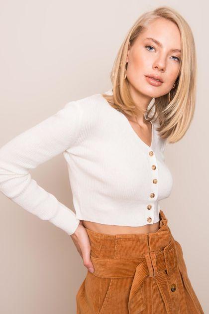 Ecru krótki sweter BSL