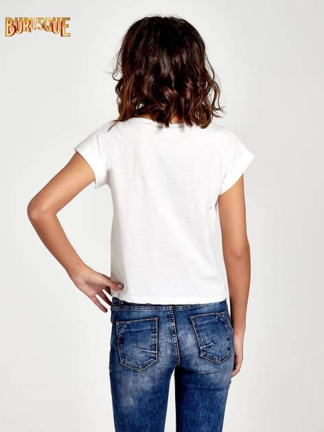 Ecru t-shirt damski z cekinami                              zdj.                              2