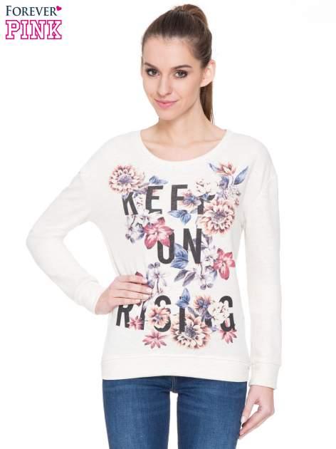 Ecru kwiatowa bluza z napisem KEEP ON RISING