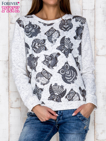 Ecru melanżowa bluza z nadrukiem sów