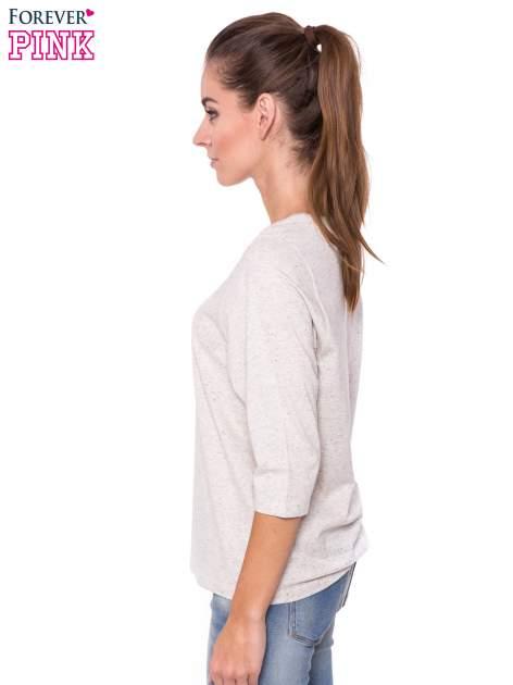 Ecru melanżowa bluzka basic z rękawem 3/4                                  zdj.                                  2