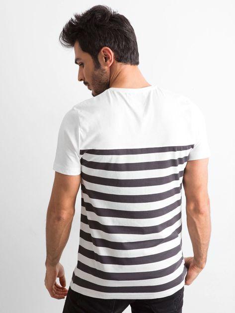 Ecru męski t-shirt w paski                              zdj.                              2