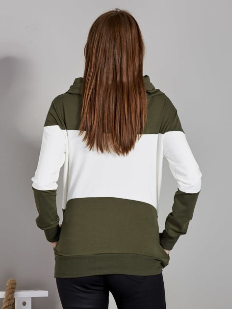 Ecru modułowa bluza damska z troczkami                              zdj.                              3