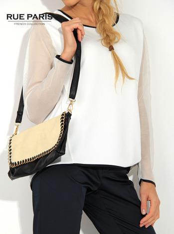 Ecru pikowana bluza z siateczkowymi rękawami                                  zdj.                                  3