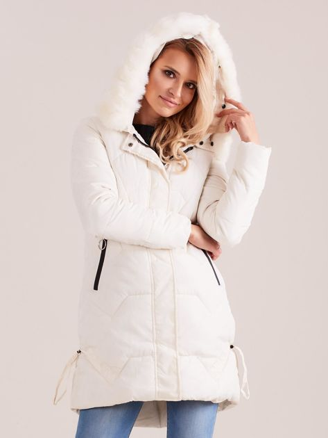 Ecru pikowana kurtka na zimę                              zdj.                              6