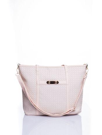 Ecru pleciona torba shopper bag ze złotym detalem                                  zdj.                                  1