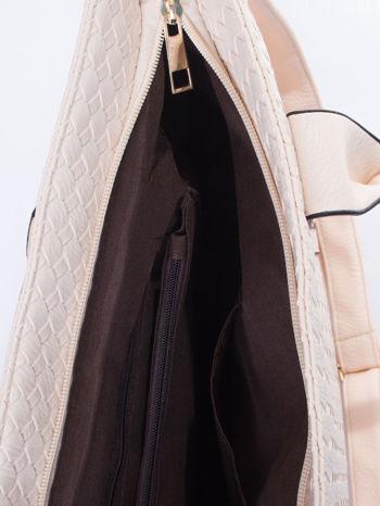 Ecru pleciona torebka z suwakami                                  zdj.                                  5