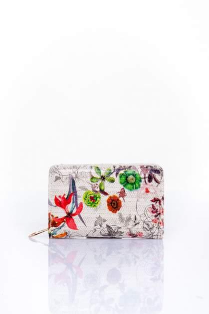 Ecru portfel z kwiatowym nadrukiem                                  zdj.                                  1