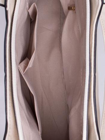 Ecru pozioma torba ze złotymi detalami                                  zdj.                                  4
