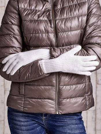 Ecru rękawiczki z długim ściągaczem                                  zdj.                                  2