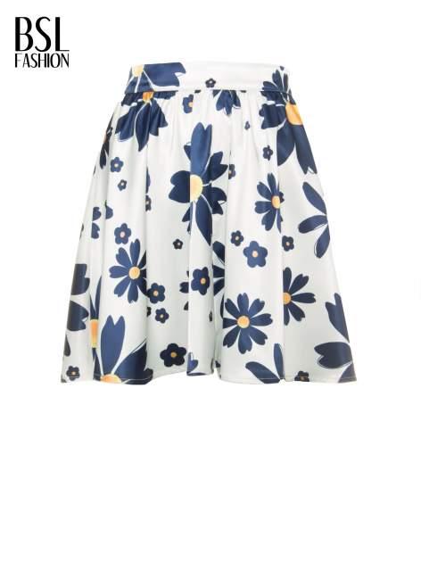 Ecru rozkloszowana spódnica skater w kwiaty                                  zdj.                                  5