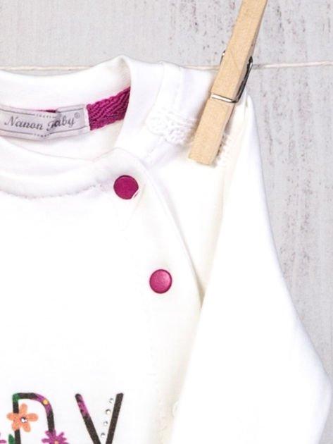 Ecru-różowy 5-elementowy 100% bawełniany zestaw niemowlęcy dla dziewczynki w kwiatuszki                                  zdj.                                  5