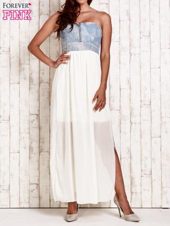 Ecru sukienka maxi z gorsetem z denimu                                  zdj.                                  1