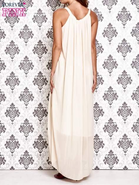 Ecru sukienka maxi z wiązaniem przy dekolcie                                  zdj.                                  3