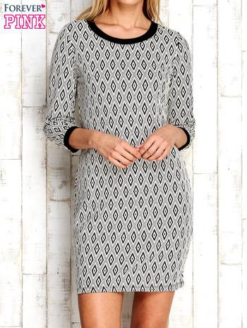 Ecru sukienka w geometryczne wzory                                  zdj.                                  1