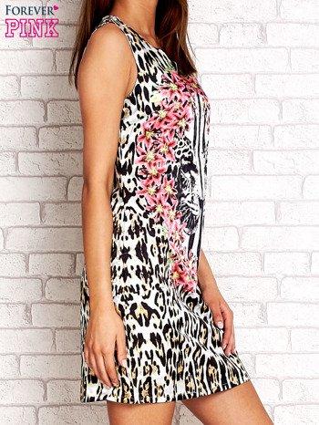 Ecru sukienka z motywem pantery                                  zdj.                                  3