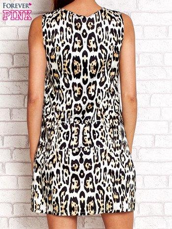 Ecru sukienka z motywem pantery                                  zdj.                                  2
