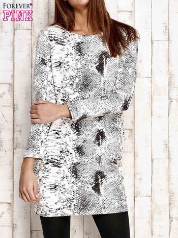 Ecru sukienka z motywem skóry węża i brokatową aplikacją                              zdj.                              1