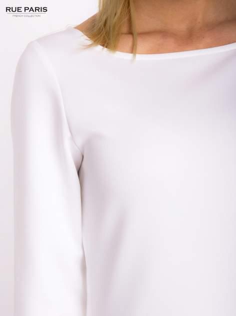 Ecru sukienka z obniżoną talią o rękawie długości 3/4                                  zdj.                                  6