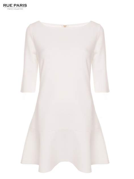 Ecru sukienka z obniżoną talią o rękawie długości 3/4                                  zdj.                                  2