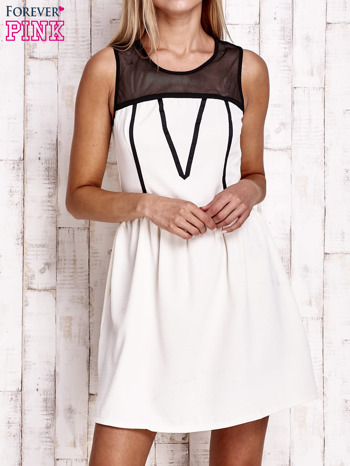 Ecru sukienka z siateczkową górą