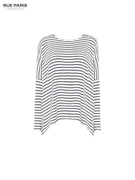 Ecru sweter w czarne paski o kroju oversize                                  zdj.                                  5