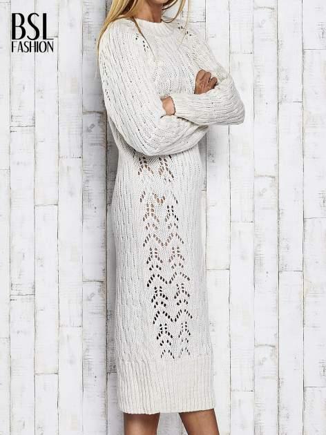 Ecru swetrowa sukienka midi                                  zdj.                                  4