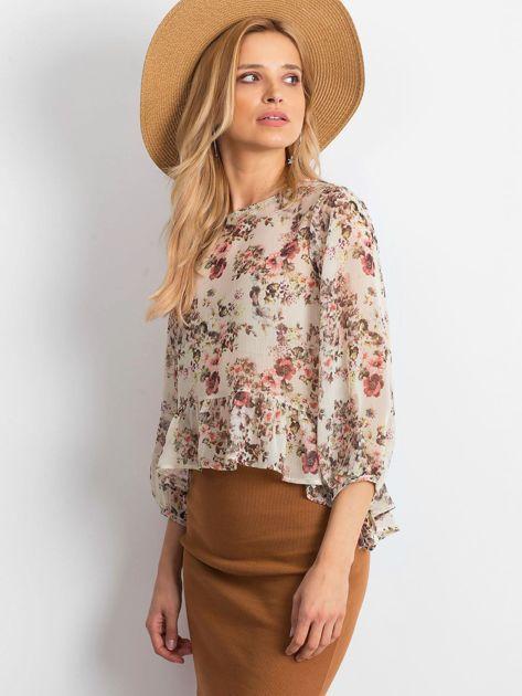 Ecru szyfonowa bluzka w kwiaty                              zdj.                              3