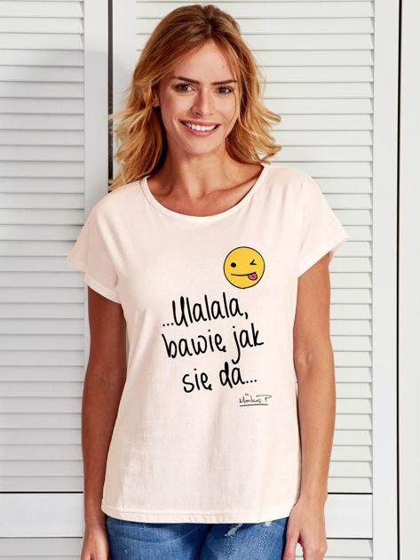 Ecru t-shirt damski BAWIĘ JAK SIĘ DA by Markus P                              zdj.                              1