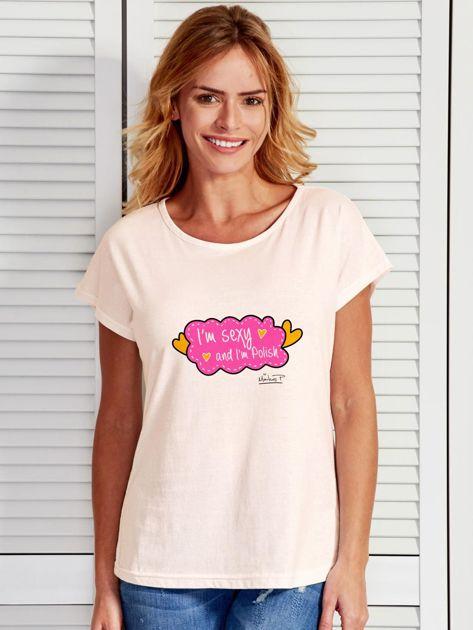 Ecru t-shirt damski I'M SEXY by Markus P                              zdj.                              1