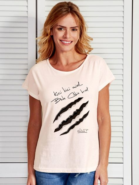 Ecru t-shirt damski KICI KICI MIAŁ by Markus P                              zdj.                              1