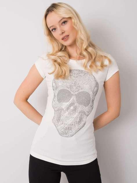 Ecru t-shirt z aplikacją Skull