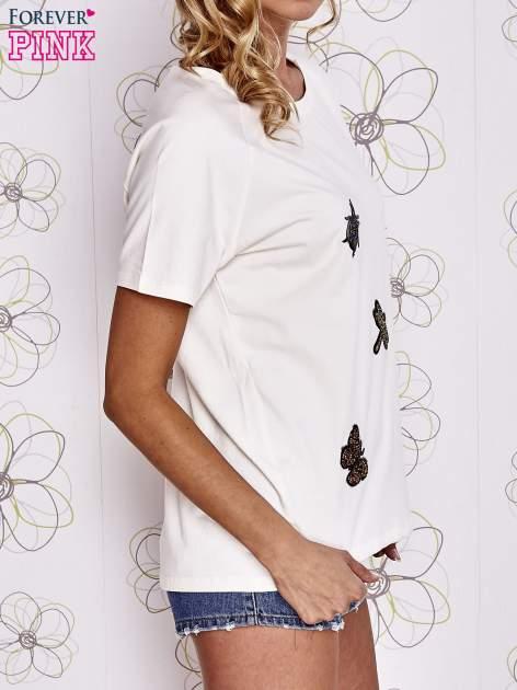 Ecru t-shirt z aplikacją owadów                                   zdj.                                  3