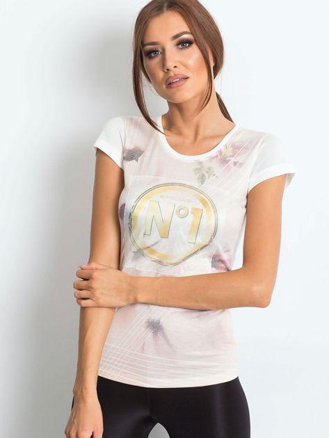 Ecru t-shirt z graficznym nadrukiem                              zdj.                              1