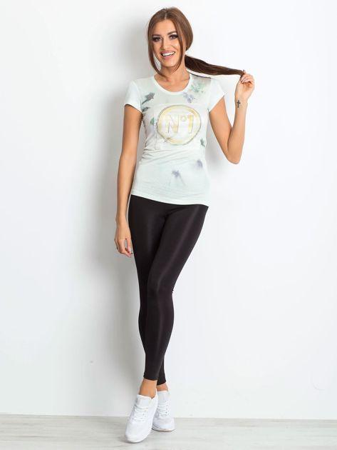 Ecru t-shirt z graficznym nadrukiem                              zdj.                              8