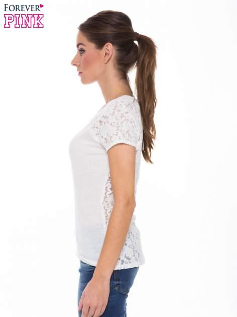 Ecru t-shirt z koronkowymi plecami i rękawkami                                  zdj.                                  2