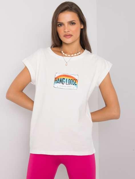Ecru t-shirt z nadrukiem Aloha