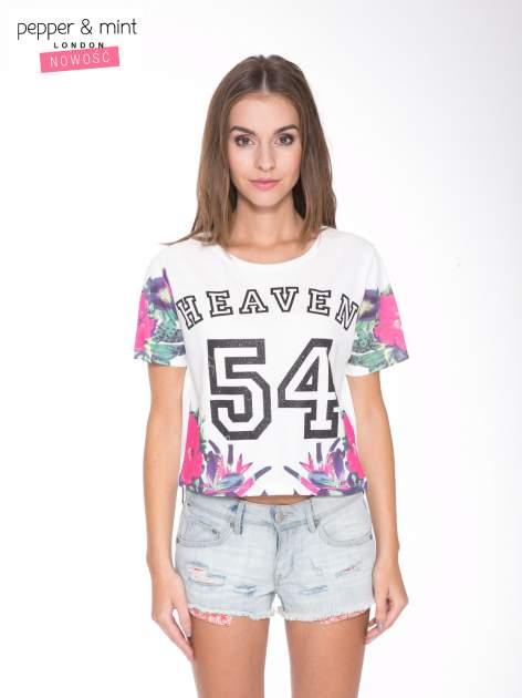 Ecru t-shirt z nadrukiem HEAVEN 54 w stylu eclectic
