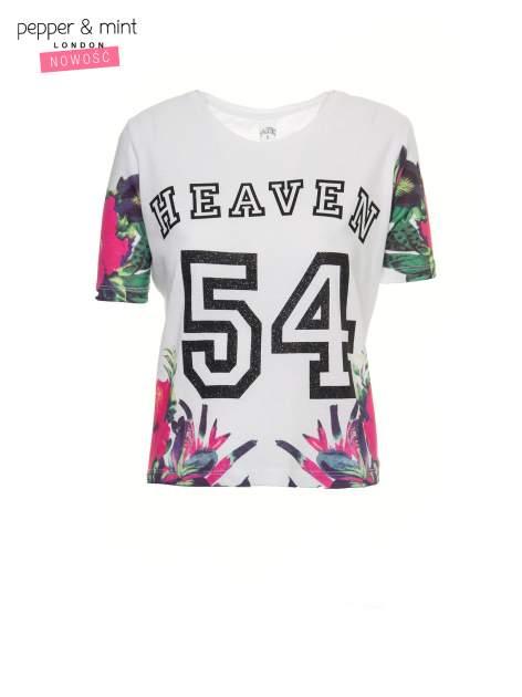 Ecru t-shirt z nadrukiem HEAVEN 54 w stylu eclectic                                  zdj.                                  2