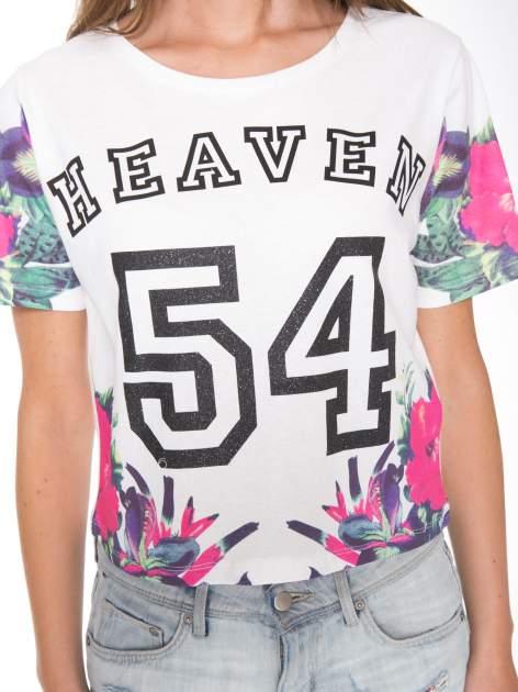 Ecru t-shirt z nadrukiem HEAVEN 54 w stylu eclectic                                  zdj.                                  6