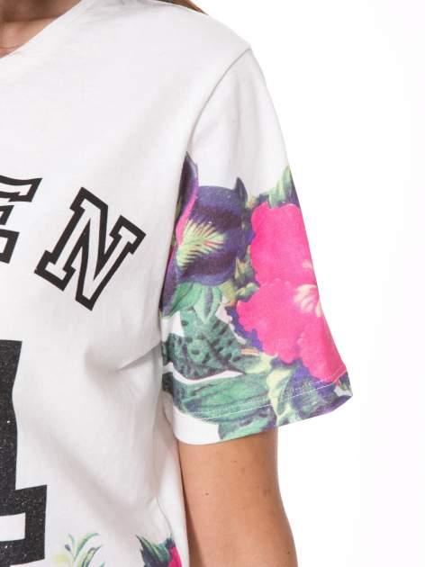 Ecru t-shirt z nadrukiem HEAVEN 54 w stylu eclectic                                  zdj.                                  8