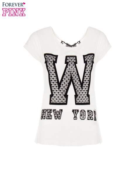 Ecru t-shirt z nadrukiem NEW YORK i koronkowym pasem na plecach                                  zdj.                                  2