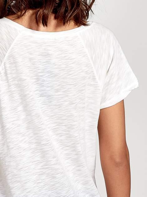 Ecru t-shirt z nadrukiem OCEANSIDE BEACH                                  zdj.                                  6