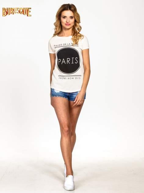 Ecru t-shirt z nadrukiem PARIS                                  zdj.                                  2