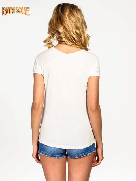 Ecru t-shirt z nadrukiem PARIS                                  zdj.                                  4
