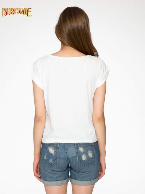 Ecru t-shirt z nadrukiem Stich                                  zdj.                                  4