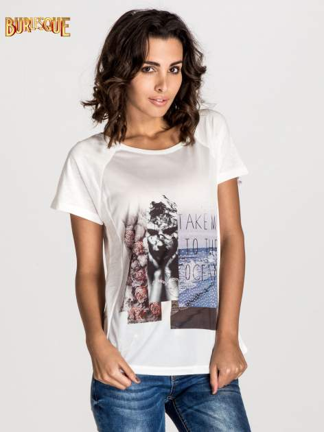 Ecru t-shirt z nadrukiem TAKE ME TO THE OCEAN z dżetami